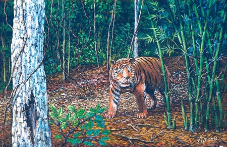 Oil painting on canvas - tiger in the forest