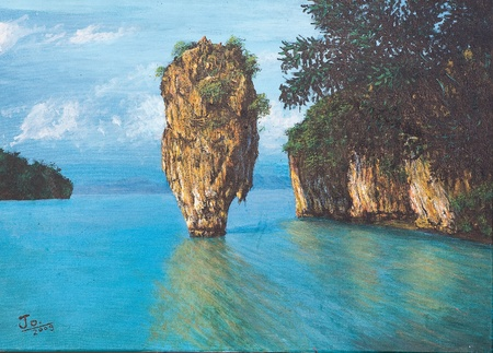 Oil painting on canvas - Pang-nga bay national park in Thailand Stock Photo
