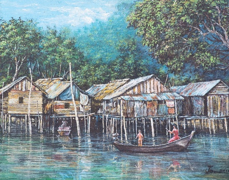 Oil painting on canvas - waterside life photo