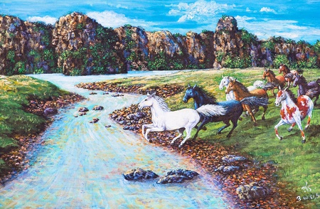 Oil painting on canvas - horses in the forest photo