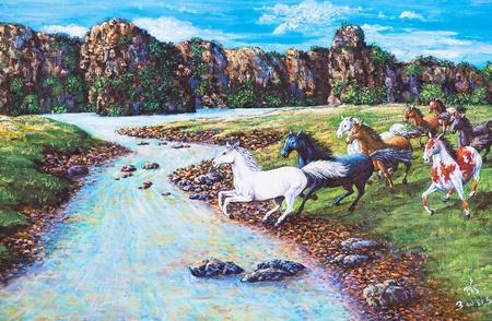 and painting: Pintura al �leo sobre lienzo - caballos en el bosque Foto de archivo