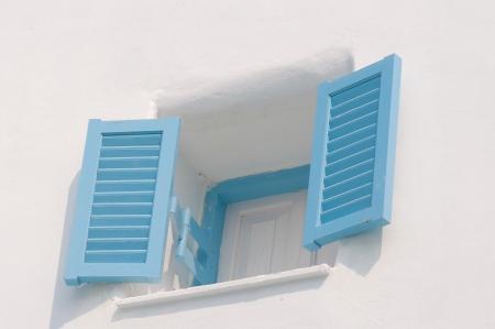 blue vintage windows in Greek Style photo