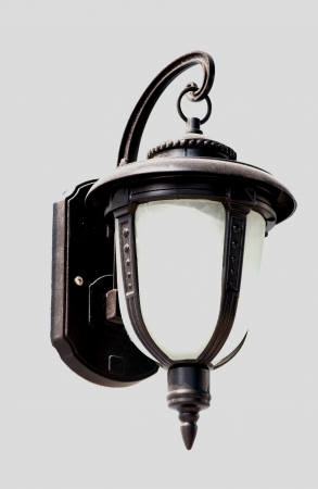 vintage street light lamp on the wall photo