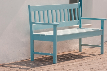 light blue street chair in the park photo