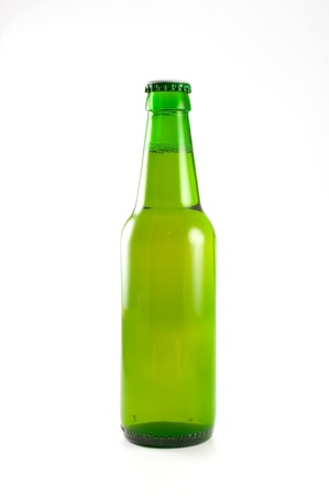 bottle of beer on white background photo