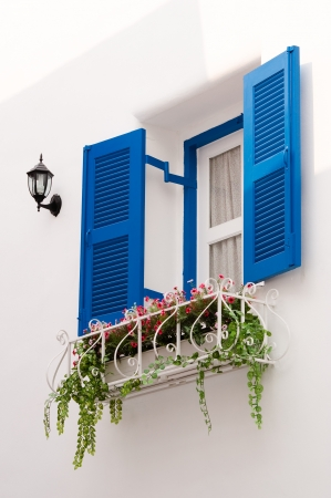 blue vintage windows in Greek Style photo