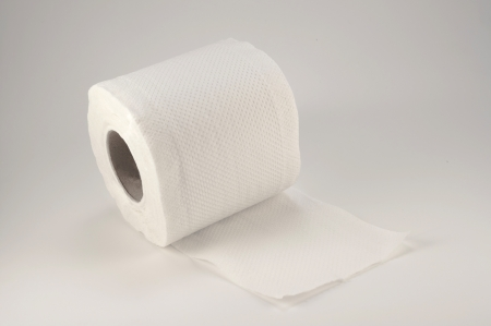 toilet paper on white background photo