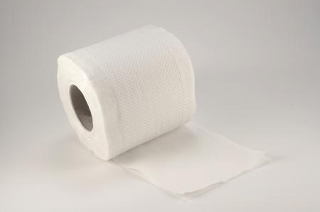 toilet paper on white background photo