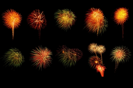 colorful of fireworks on black background photo