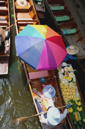 boats in Damnernsaduak floating market Thailand photo