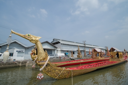 BANGKOK, THAILAND-NOV. 2 :The rehearsals Royal barge procession on the Chao Phraya river for a traditional royal