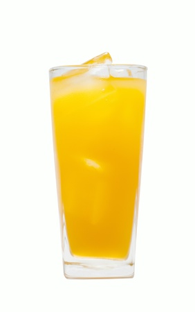freshly orange juice with ice cubes photo