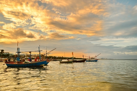 small fisherman boats in the sea near Hua Hin fisherman port,Thailand