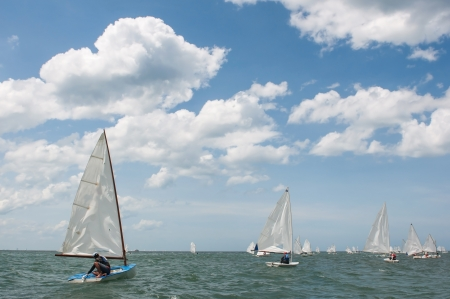 sailing competitors in the sea  photo