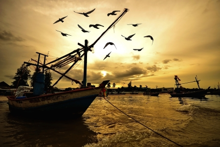 small fishing boats in the sea near Hua Hin fishing port,Thailand photo