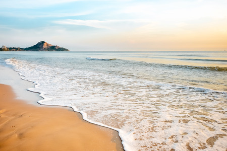 Tropical beach wave at Hua Hin Thailand in the  morning photo