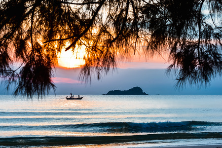 Tropical beach wave at Hua Hin Thailand in the  morning Stock Photo