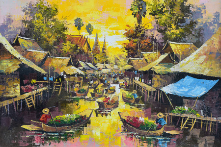 Original oil painting on canvas - waterside life in Thailand photo
