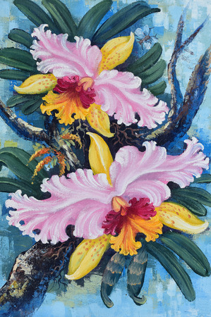 Original oil painting on canvas - Thai forest orchids photo