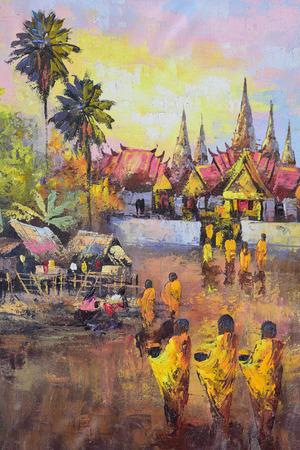limosna: Pintura al �leo sobre lienzo - la cultura tailandesa monje pedir limosna en Tailandia Foto de archivo