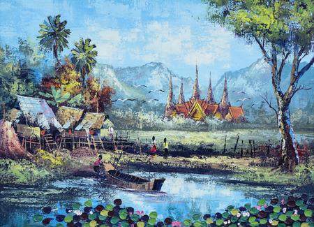 waterside: Original oil painting on canvas - waterside life in Thailand