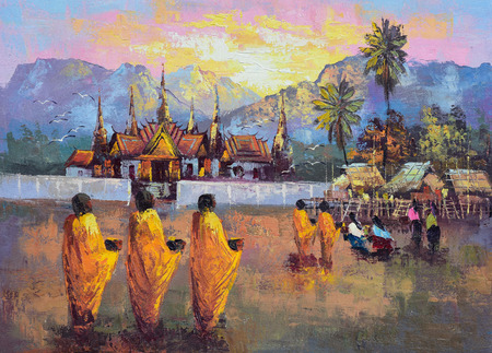 alms: Original oil painting on canvas - culture Thai monk ask for alms in Thailand