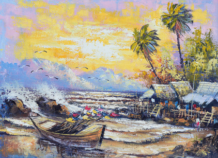 canvas painting: Original oil painting on canvas - Old fishing boat in the harbor in Thailand