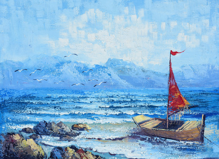 Original oil painting on canvas - sailing in the ocean under blue sky photo