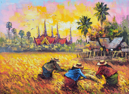Original oil painting on canvas - farmer life in Thailand