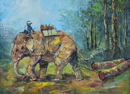 drag: Original oil painting on canvas - Elephants to drag logs in Thailand