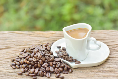 white heart shape of coffee cup photo