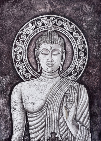 buddha statue,acrylic painting on canvas