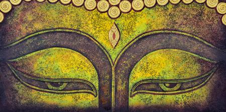 cabeza de buda: pintura buda faceacrylic sobre lienzo Foto de archivo