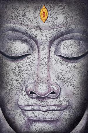 cabeza de buda: buda pintura acr�lica sobre lienzo cara Foto de archivo