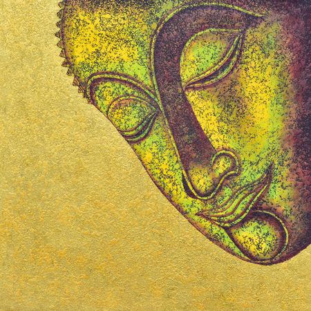 cabeza de buda: la cara de Buda, pintura acrílica sobre lienzo