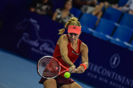 world player: hua Hin Thailand - Jan 1 : World No.10 Tennis player Angelique Kerber from Germany in World Tennis Thailand Championship 2016 Kerber had win to  Venus Williams from The USA 6-4,6-3 on January 1,2016 at True Arena Hua Hin,Thailand