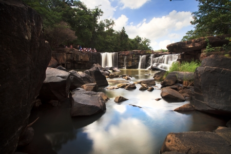 Tatton paradise Waterfall located in deep forest of Thailand Stock Photo
