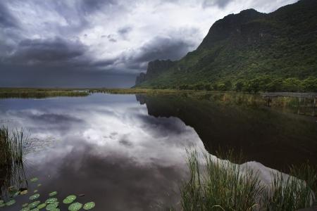 Big mountain and lotus lake at Sam Roi Yod National Park