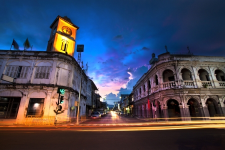 Old building in Phuket town twilight, Thailand