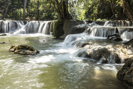 Small waterfall in Chet Sao Noi Waterfall National Park place for relaxation Stock Photo