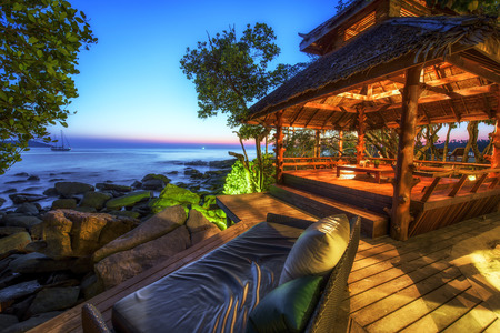Beautiful resort  seaside in Thailand at the twilight time, Colorful image and use long exposure technique Stock Photo