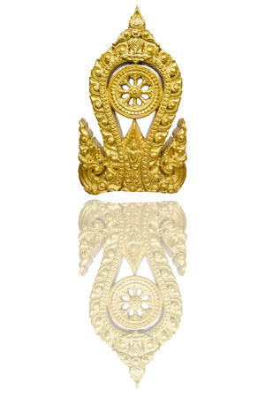 Gold Thammachak Symbol of Buddhism, Sometimes or Somepeple called Wheel of dharma, Isolated on white background