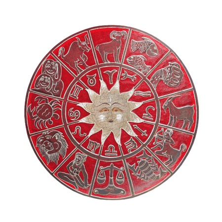 Red zodiac wheel with white signs and clipping path included photo