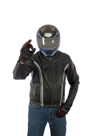 Biker posing with a helmet photo