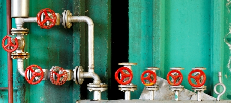 regulators: Pressure regulation system with pipes and valves Stock Photo