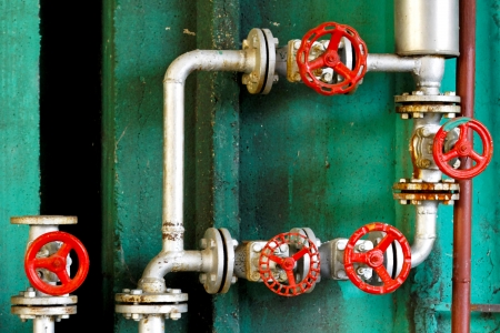 regulate: Pressure regulation system with pipes and valves Stock Photo