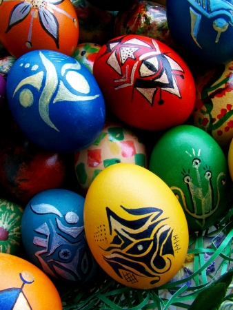 Beautiful painted easter eggs on a colorful background Stock Photo - 15880942