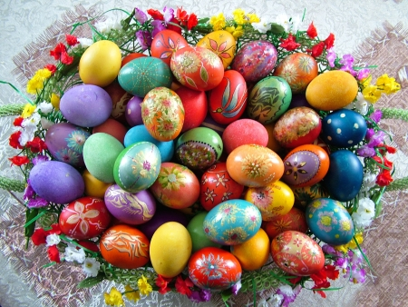 Beautiful painted easter eggs in a basket photo