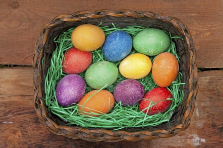 Beautifully decorated Easter eggs photo