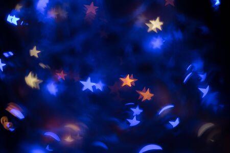 Multicolor defocused stars bokeh background. Whole background.
